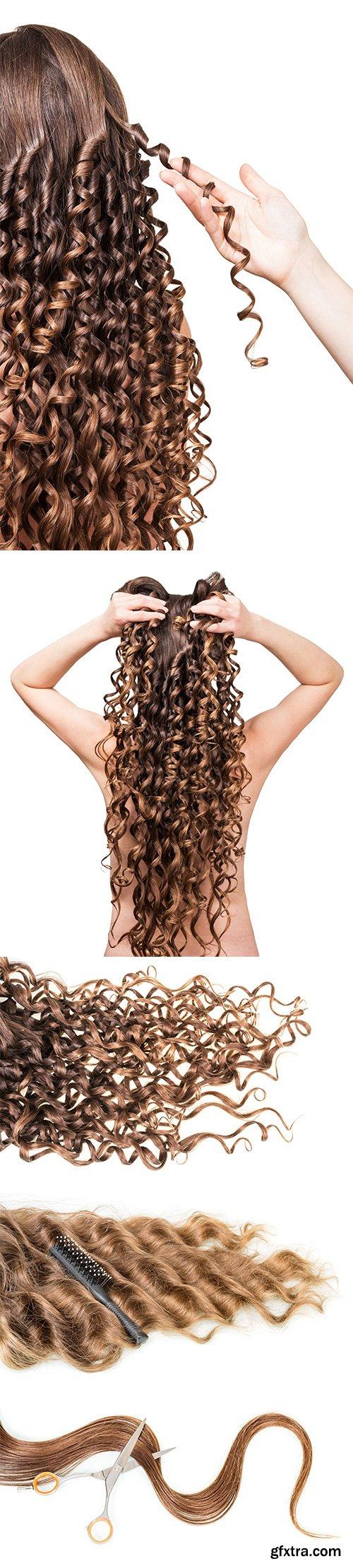 Female Hair Brown Isolated - 12xJPGs