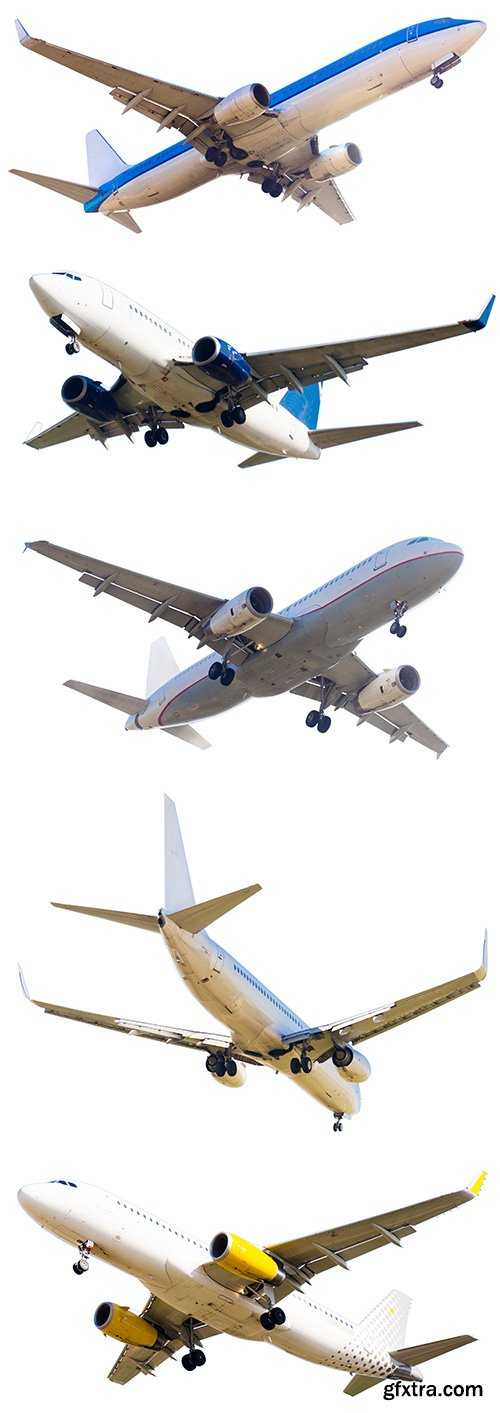 Flying Modern Airplane Isolated - 15xJPGs