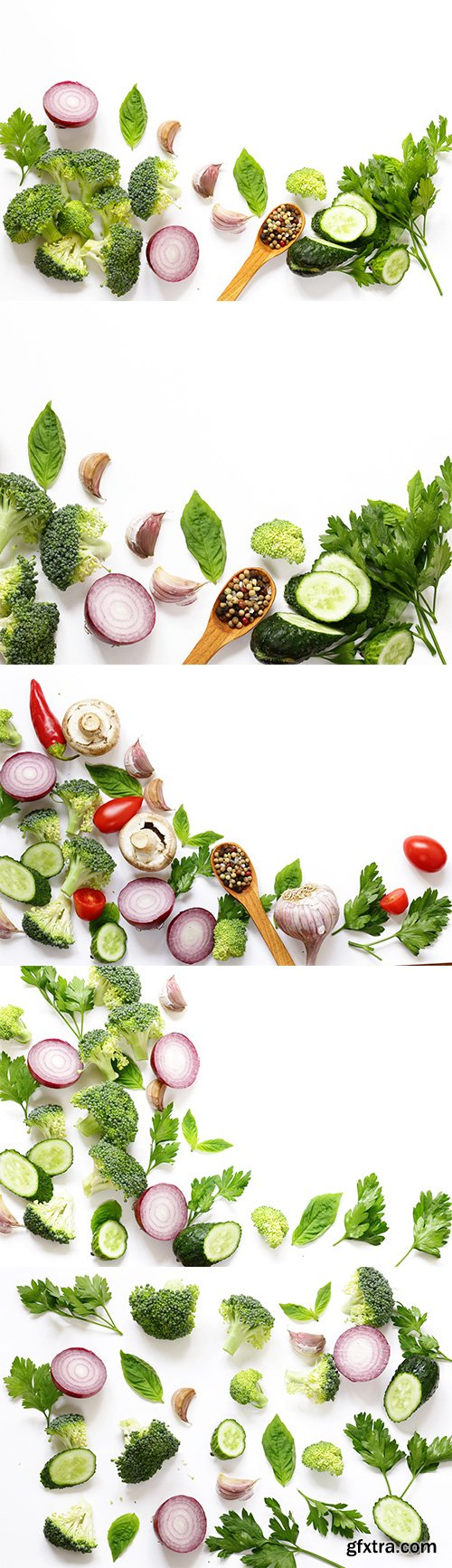 Healthy Eating Vegetables And Herbs Isolated - 5xJPGs