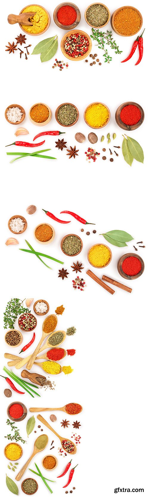 Mix Of Spices Isolated - 7xJPGs