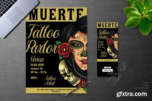 Muerte Day Of The Dead Tattoo Event Flyer