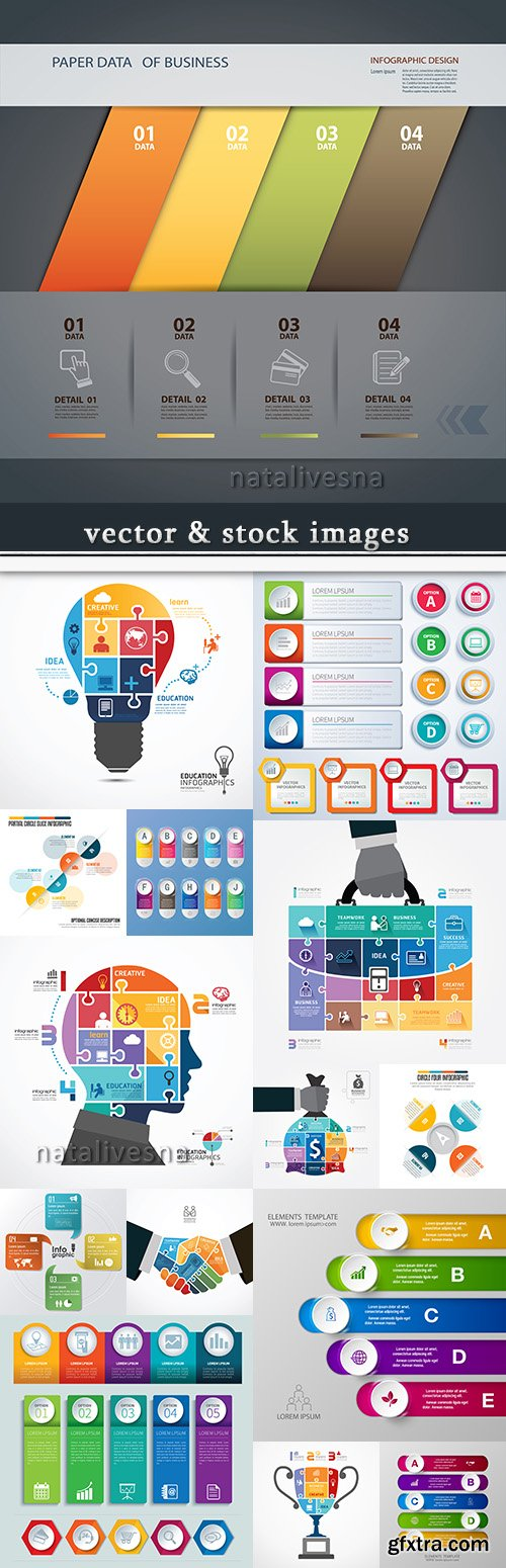 Business infographics options elements collection 59