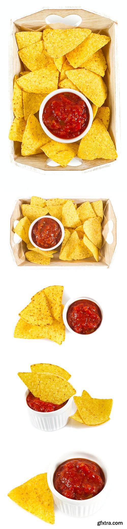 Nachos And Tomato Dip Isolated - 5xJPGs