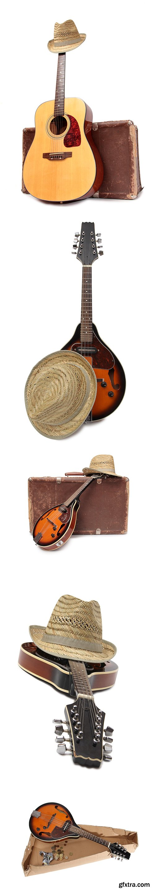 Old Suitcase And Mandolin Style Isolated - 15xJPGs