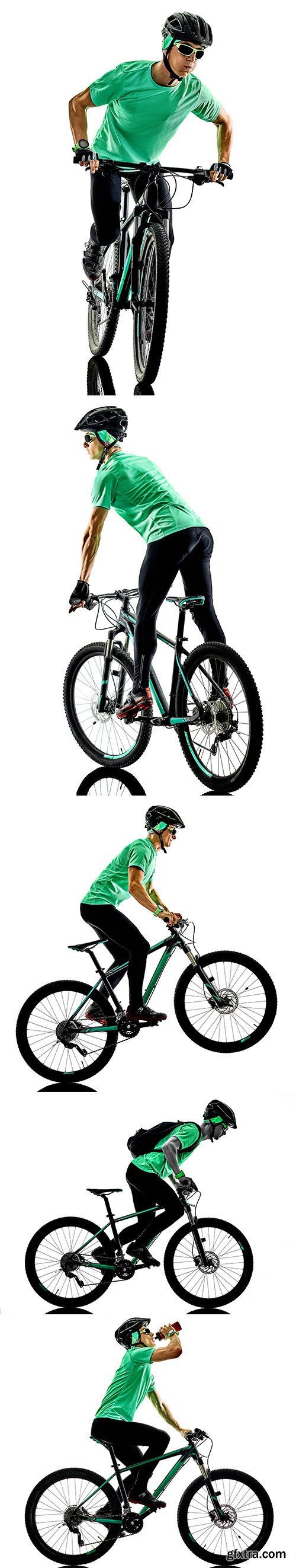 One Man Practicing Mountain Bike Isolated - 9xJPGs