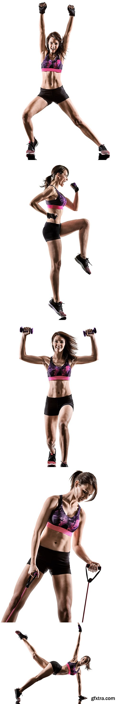 One Woman Exercising Cardio Isolated - 15xJPGs