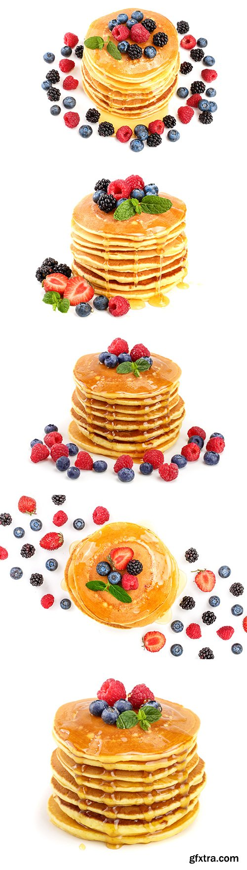 Pancakes Stack With Different Berries Isolated - 6xJPGs