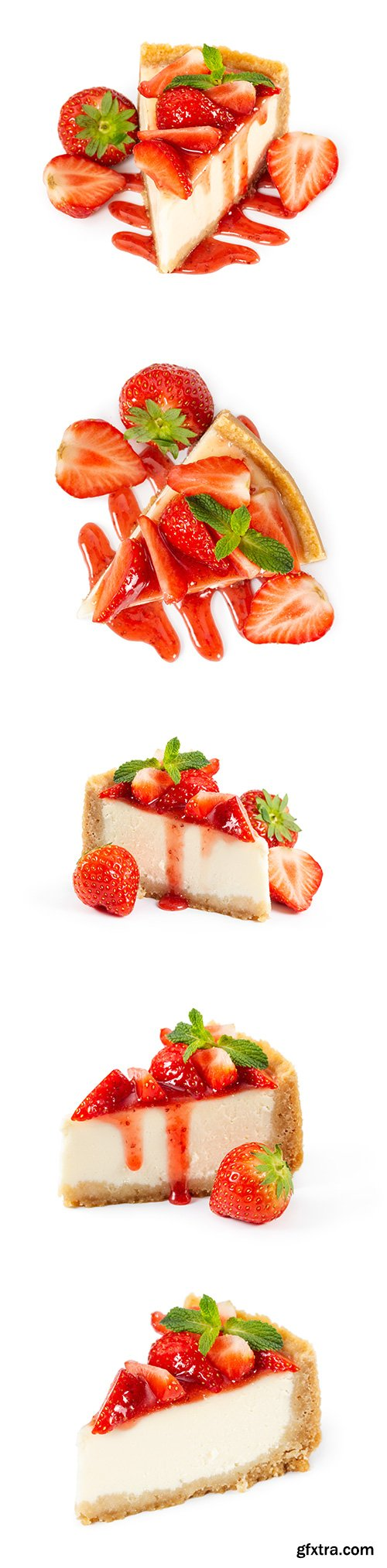 Piece Of Cheesecake With Fresh Strawberries Isolated - 7xJPGs