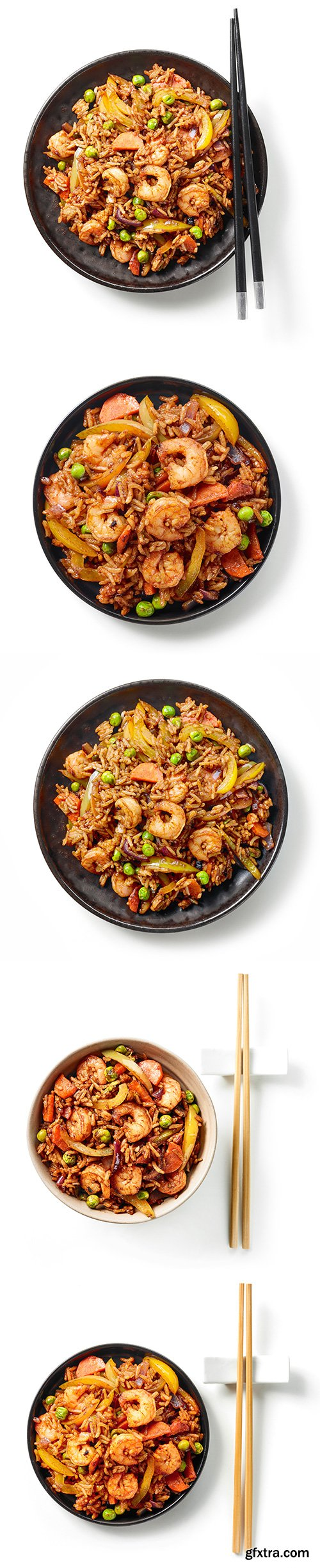 Plate Of Asian Food Isolated - 5xJPGs