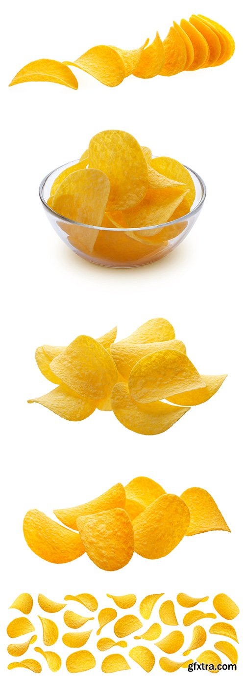 Potato Chips Isolated - 5xJPGs