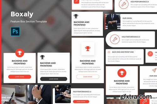 Boxaly - Feature Box UI Kit Template For Figma Photoshop and Sketch