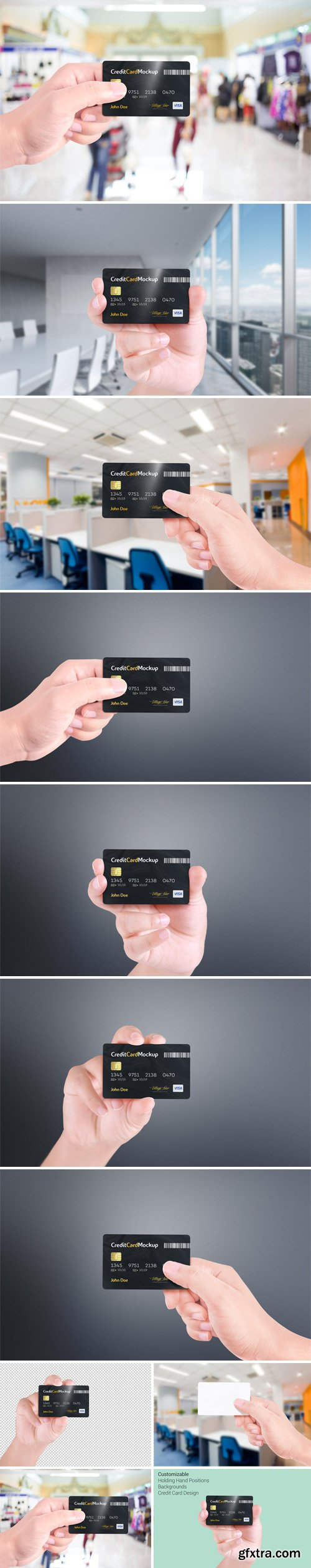 Credit Card PSD Mockup With 4 Positions
