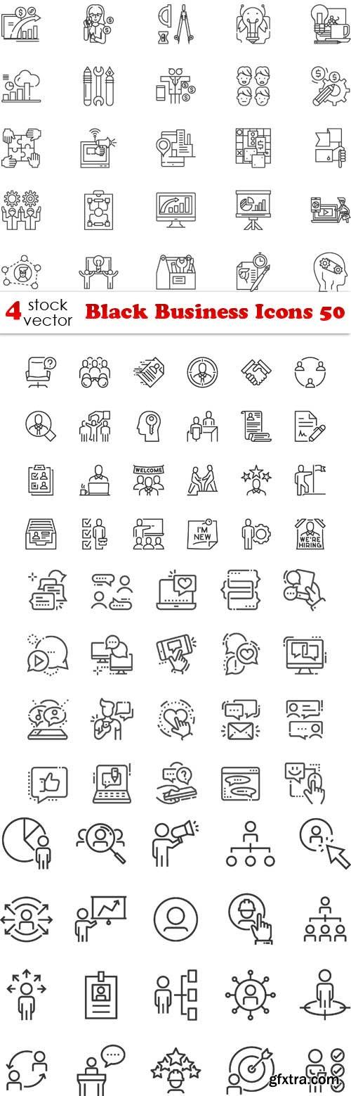 Vectors - Black Business Icons 50