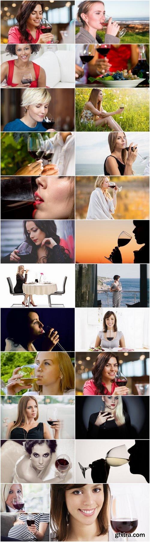 Woman girl drinking wine glass cup jar 25 HQ Jpeg