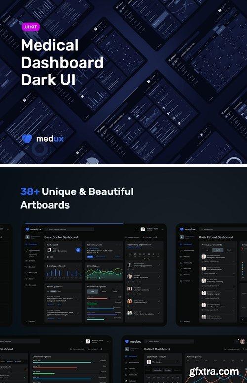 Dark Medical Dashboard – Sketch UI KIt MedUX