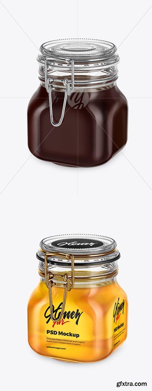 Glass Jar with Honey Mockup 42314