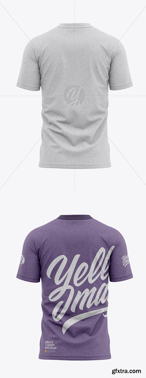 Men's Heather Tight Round Collar T-Shirt - Back View 39236