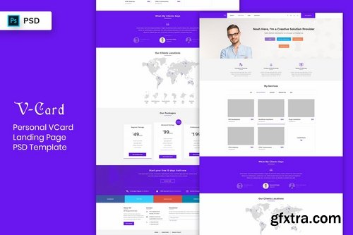 V-Card - Landing Page PSD Template