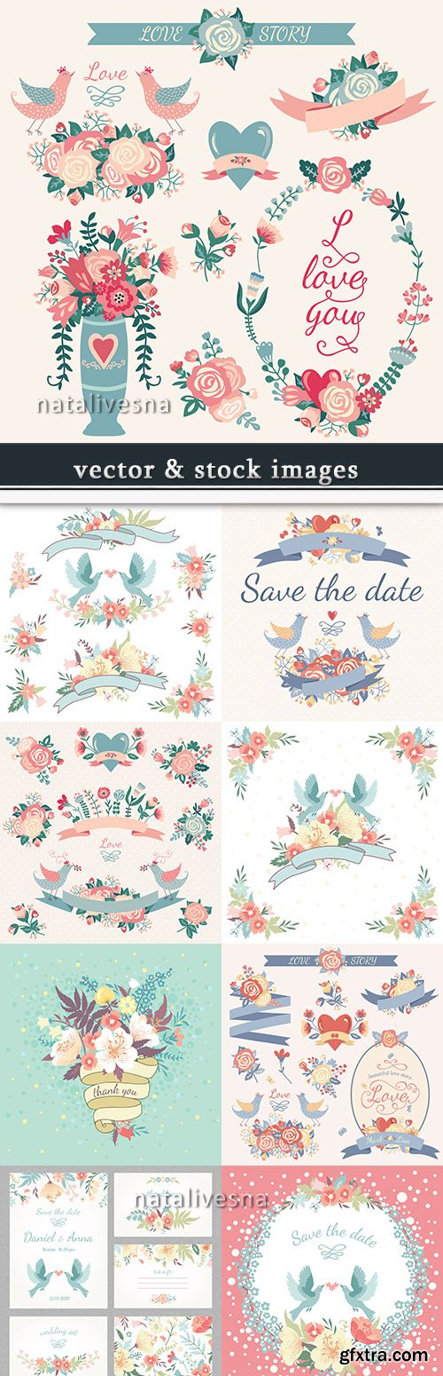 Vintage wedding and flower romantic elements invitation
