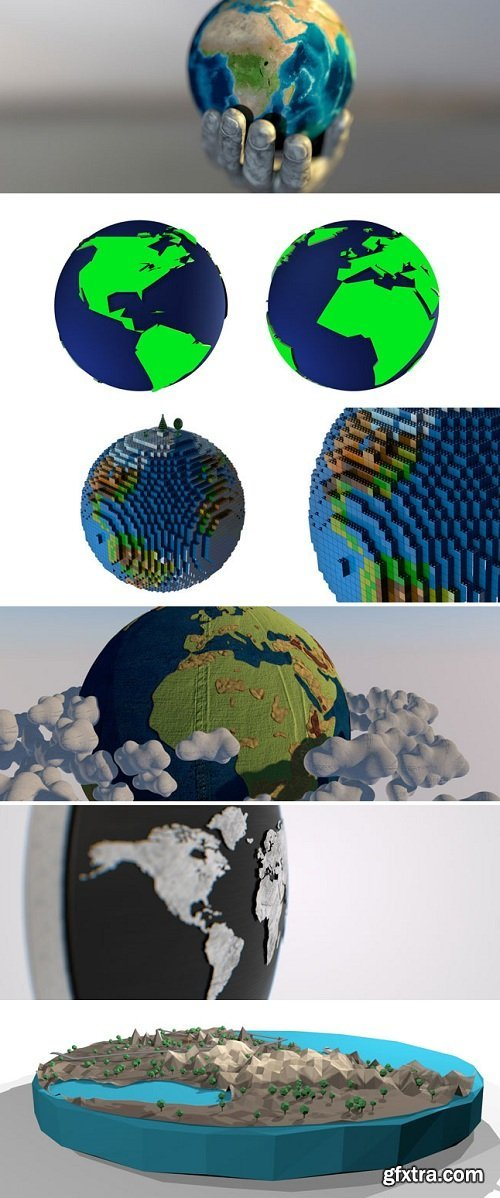 Earth and Globe Pack: 50+ C4D Models