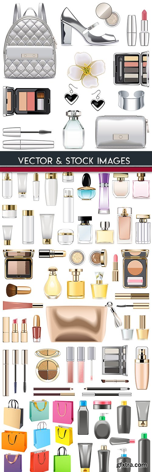Makeup cosmetics plastic bottle and glass bottles of spirits