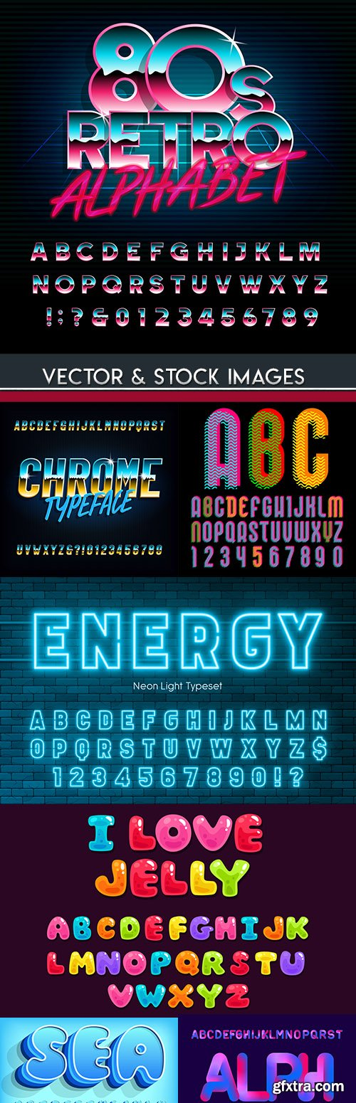 Font alphabet typography design decoration collection