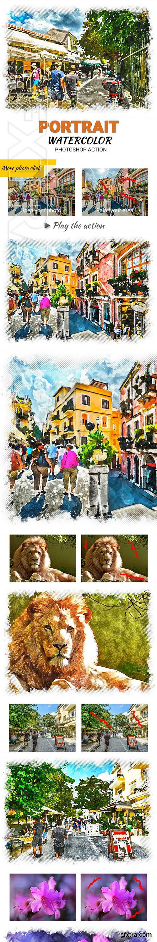 GraphicRiver - Portrait Watercolor Photoshop Action 23650966