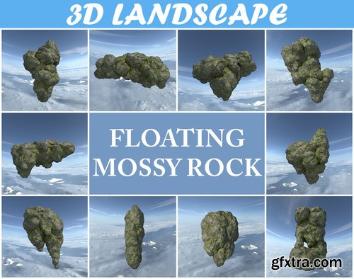 Cgtrader - Low poly Floating Island Mossy Rock Pack 190503 3D Model Collection