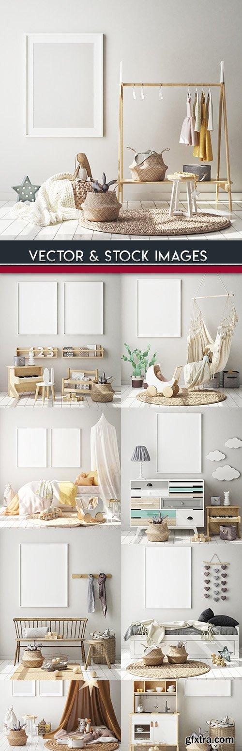 Modern interior design room with furniture in light tones