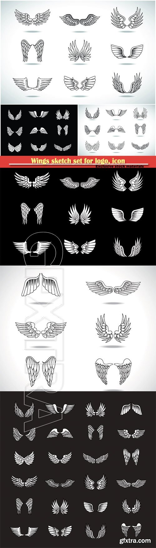Wings sketch set for logo, icon, tattoo templates, emblem, label