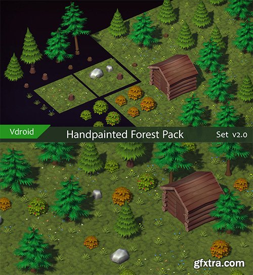 Cgtrader - Handpainted Forest Pack v2 Low-poly 3D model