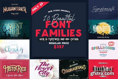 MightyDeals Wub Studio Font Bundle: 10 Font Families (150+ Fonts and Extras)