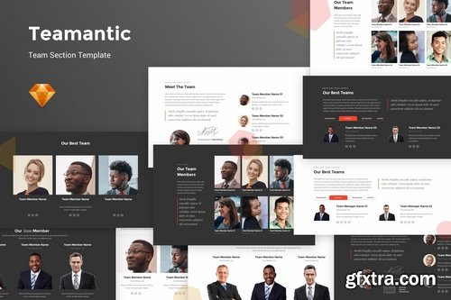 Teamantic - Team Section Kit For Photoshop Figma Sketch