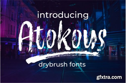 Atokous | Dry Brush Fonts