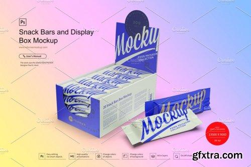 CreativeMarket - Snack Bars and Display Box Mockup 3781380