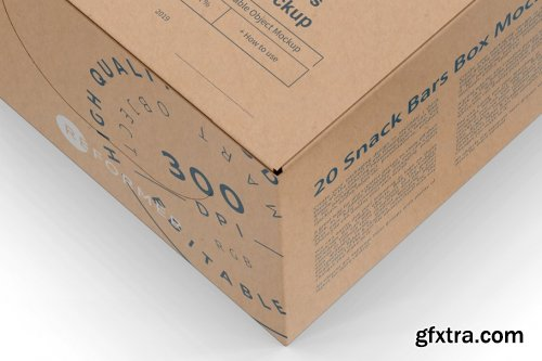 CreativeMarket - 20 Kraft Snack Bars Box Mockup 3783122