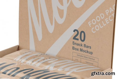 CreativeMarket - 20 Kraft Bars Display Box Mock-up 3783210
