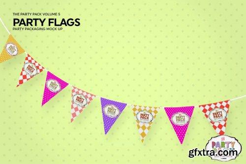CreativeMarket - Party Flags Bunting Mockup 3728391