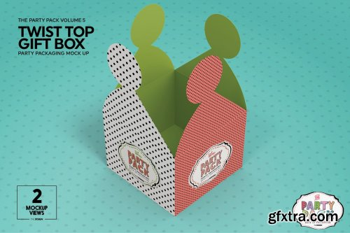 CreativeMarket - Twist Top Gift Box Packaging Mockup 3733907