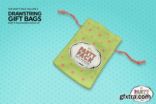 CreativeMarket - Drawstring GiftBags Packaging Mockup 3733911