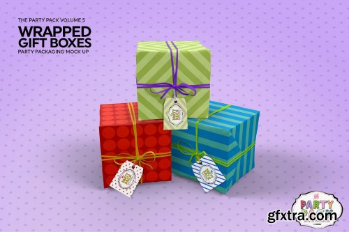 CreativeMarket - Wrapped Gift Boxes Packaging Mockup 3733917