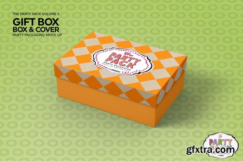 CreativeMarket - Gift Box with Cover Packaging Mockup 3733922