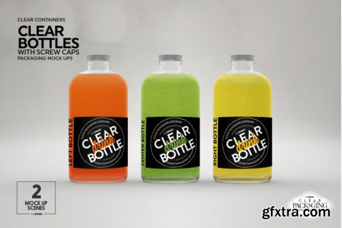 GraphicRiver - Clear Bottles with Screw Caps Packaging Mockup 23849967