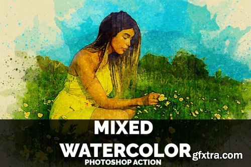 Mixed Watercolor Photoshop Action