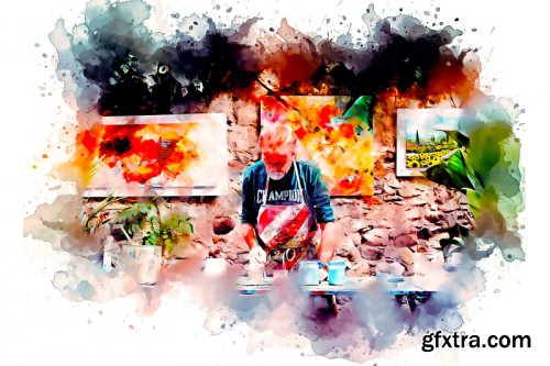 Watercolor Artist Painting Photoshop Action