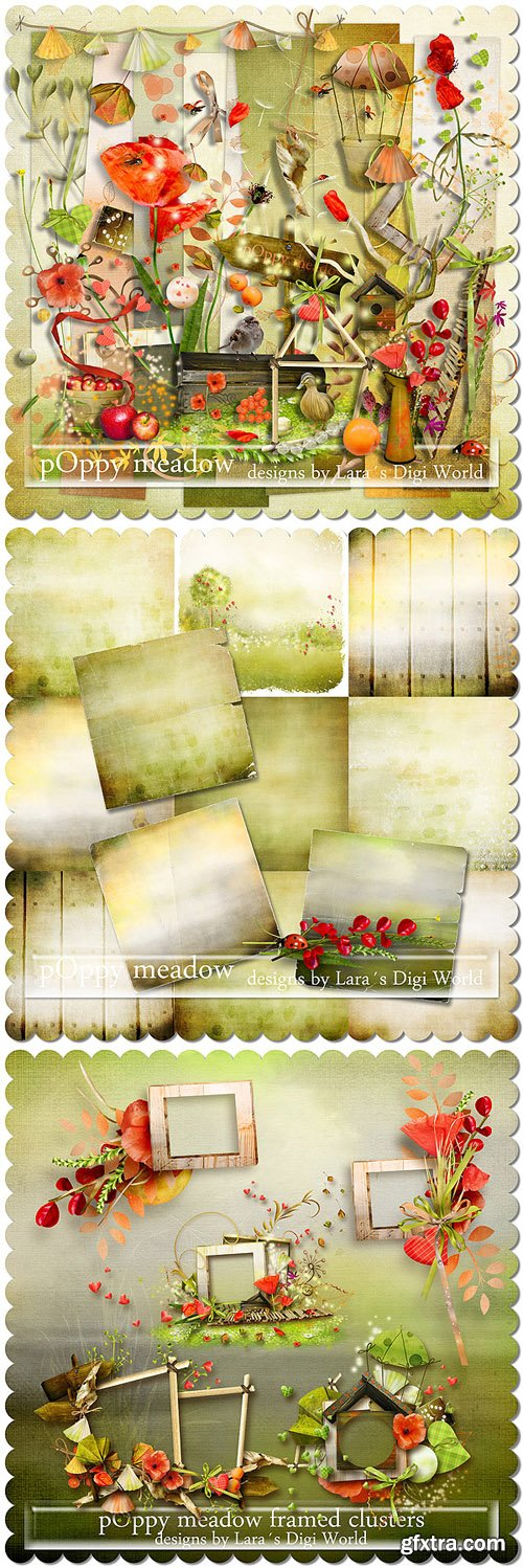Scrap Kit - Poppy Meadow (Elements, Papers, Alpha)
