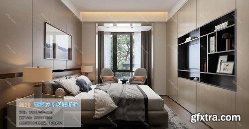 3D66 2019 - Modern Bedroom Interior Scene 02