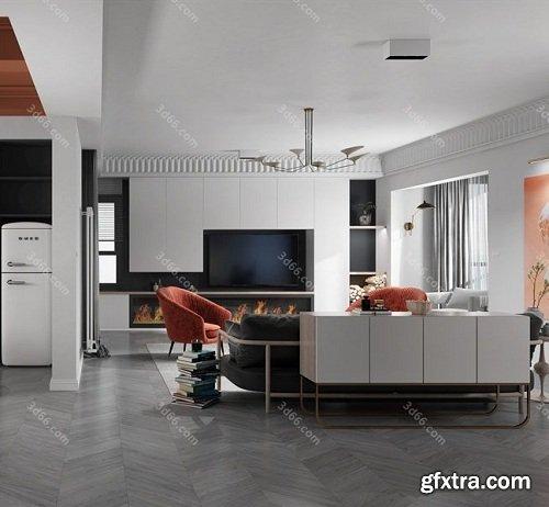 3D66 2019 - Dining Room & Kitchen Interior Scene 01