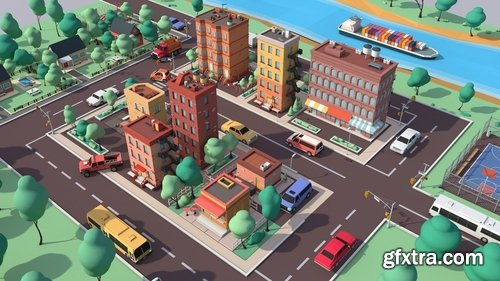 Cgtrader - Cartoon Low Poly American Dream City Pack Low-poly 3D model