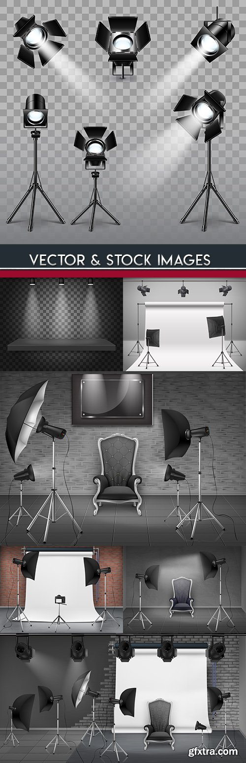 Photo studio searchlights and realistic light lamps design